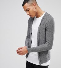 Selected Homme Tall Open Drape Cardigan In 100 Cotton Black