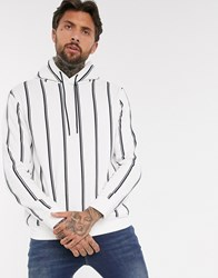 Bershka Hoodie With Vertical Stripes In White