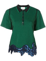 3.1 Phillip Lim Sequin Embroidered Polo Shirt Green