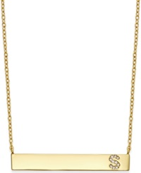 Studio Silver Bar Necklace With Cubic Zirconia Initial In 18K Gold Over Sterling Silver Gold S