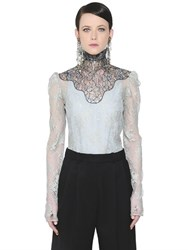 Lanvin High Collar Lace Shirt
