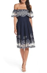 Eliza J Women's Cotton Fit And Flare Dress Navy White