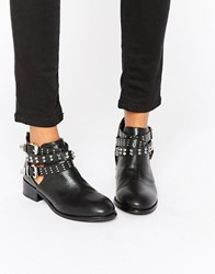 London Rebel Buckle Strap Ankle Boots Black Pu
