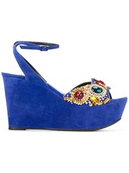 Casadei Jewelled Wedges Women Chamois Leather Leather Nappa Leather 38 Blue