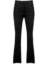 Saint Laurent Frayed Flared Jeans Black