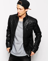Solid Solid Leather Jacket Black