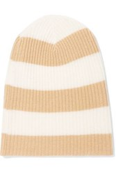 Autumn Cashmere Striped Ribbed Beanie Sand