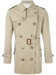 Alexander Mcqueen Buttoned Short Trench Coat Nude And Neutrals
