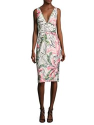 Kay Unger Sleeveless Floral Cocktail Dress White Multi