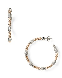 Officina Bernardi Moon Oval Bead Medium Hoop Earrings Rose Gold