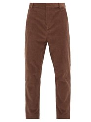 Raey Tapered Leg Cotton Blend Corduroy Trousers Brown