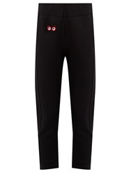 Fendi Faces Applique Cotton Track Pants Black