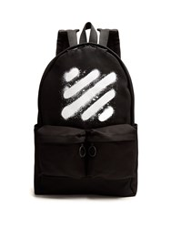 Off White Spray Print Cotton Canvas Backpack Black Multi