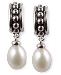 Honora Style Cultured Freshwater Pearl Hoop Earrings In Sterling Silver White