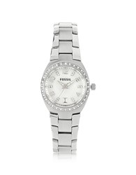 Fossil Stainless Steel And Crystals Women's Bracelet Watch Silver