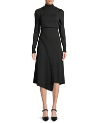 Atlein Turtleneck Long Sleeve Tank Wool Midi Dress Black