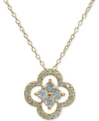 Giani Bernini Cubic Zirconia Flower 18 Pendant Necklace In Sterling Silver Created For Macy's Gold