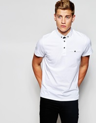 Jack And Jones Jack And Jones Polo Shirt With Polka Dot Woven Collar White