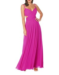 Laundry By Shelli Segal Solid Ruched Gown Pink