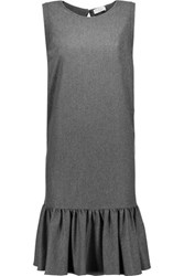 Brunello Cucinelli Bead Embellished Wool Cashmere And Silk Blend Dress Anthracite