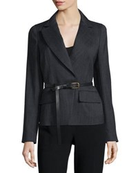 Donna Karan Long Sleeve Belted Jacket Charcoal
