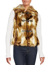 Faux Fur Toggle Vest Brown Multicolor
