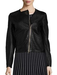 Escada Mesh Leather Moto Jacket Black