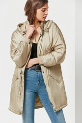 Urban Outfitters Uo Mirabelle Satin Parka Taupe