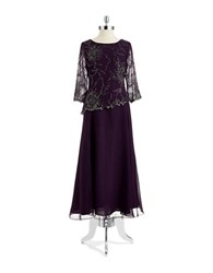 J Kara Petite Beaded Mock Top Gown Plum