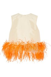 Prada Feather Trimmed Wool And Silk Blend Top Pastel Yellow