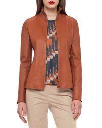 Akris Haley Leather Zip Front Jacket Cigar