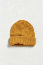 Urban Outfitters Uo Waffle Beanie Mustard