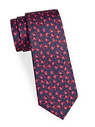 Saks Fifth Avenue Made In Italy Boxed Playful Floral Silk Tie Black