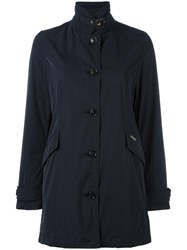 Woolrich Banded Collar Buttoned Coat Black