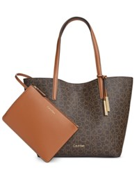 Calvin Klein Leather Reversible Tote With Pouch Brown Khaki Luggage