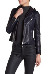 Doma Smooth Texture Hooded Leather Jacket Blue