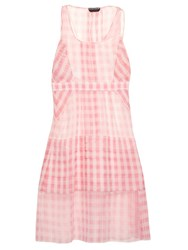 Rochas Gingham Check Oversized Silk Organza Dress Pink White