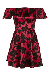 Topshop Floral Satin Frill Dress Red