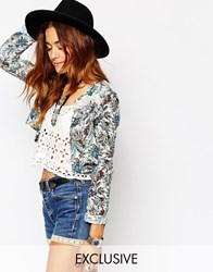 Milk It Vintage Lightweight Jacket With Lace Trim In Multi Paisley Multi
