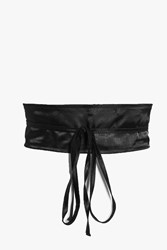 Boohoo Satin Obi Belt Black