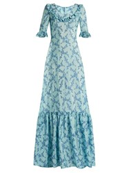 The Vampire's Wife Gloria Ruffle Trimmed Floral Fil Coupe Gown Blue Print
