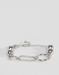 Asos Design Chain Bracelet With Oversized Link And Ball Detail In Silver