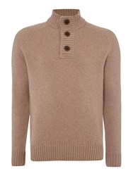 Howick Men's Colorado Funnel Neck Jumper Oatmeal