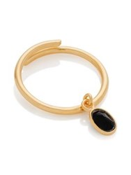 Svp Jewellery Sherbert Pip Adjustable Black Onyx Charm Ring Gold Plated
