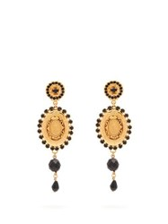 Dolce And Gabbana Cameo Crystal Bead Drop Clip Earrings Gold