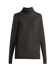 Nili Lotan Anitra Ribbed Roll Neck Wool Blend Sweater Grey
