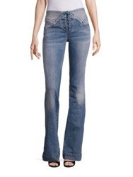 Roberto Cavalli Lace Up Flared Jeans Medium Wash Denim