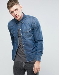 Pepe Jeans Carson Slim Fit Shirt Dark Worn Wash N48 Blue