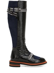 Lanvin 25Mm Patent Leather And Suede Tall Boots Black Blue