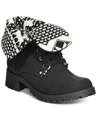 Dolce By Mojo Moxy Lumberjack Foldover Booties Women's Shoes Black